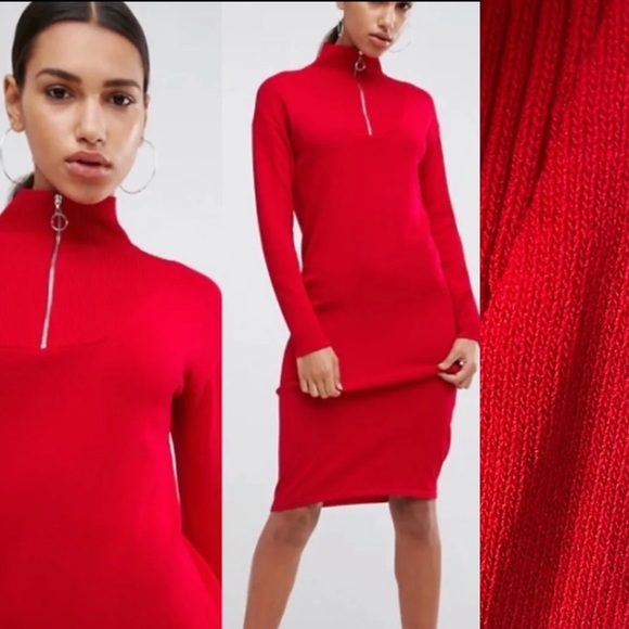 ASOS Knit Ribbed Dress with Zip up Neck